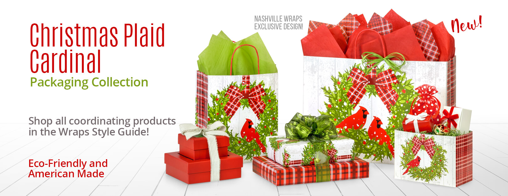 Christmas Plaid Cardinal Packaging Collection  from Nashville Wraps