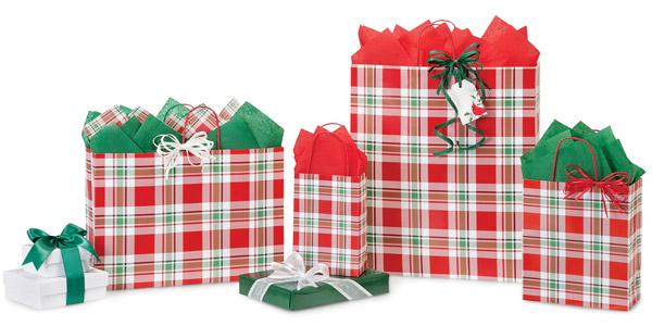 Christmas Plaid Paper Shopping Bags