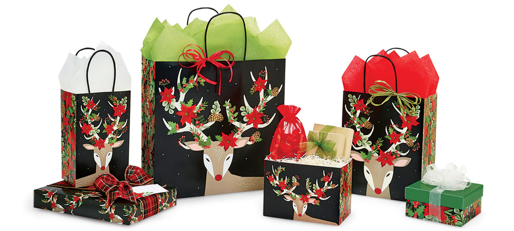 Christmas Reindeer  Paper Shopping Bags