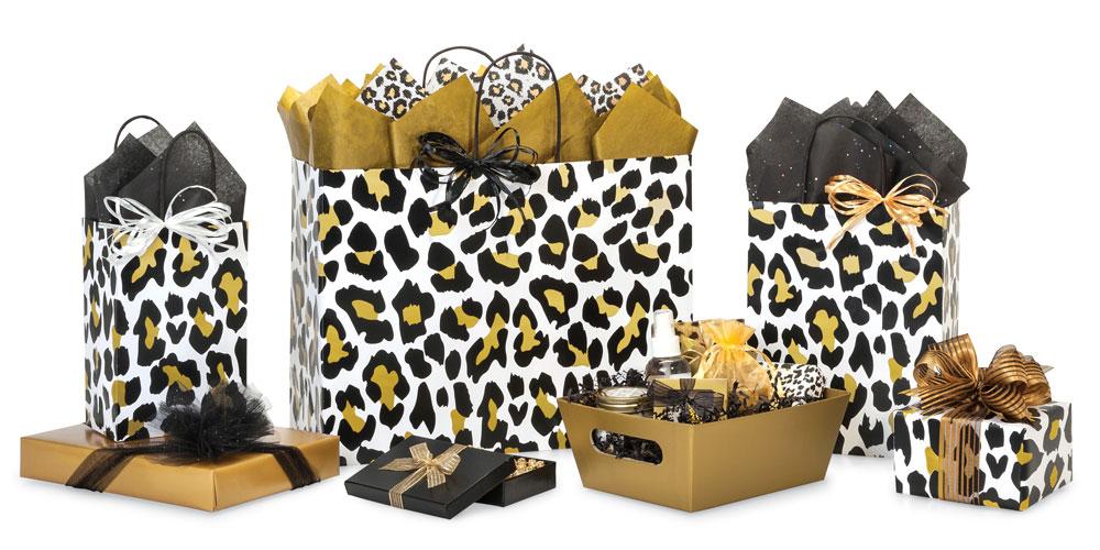 Golden Leopard Shopping Bags