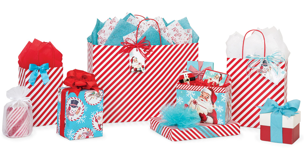 Red Stripe Christmas Paper Shopping Bags