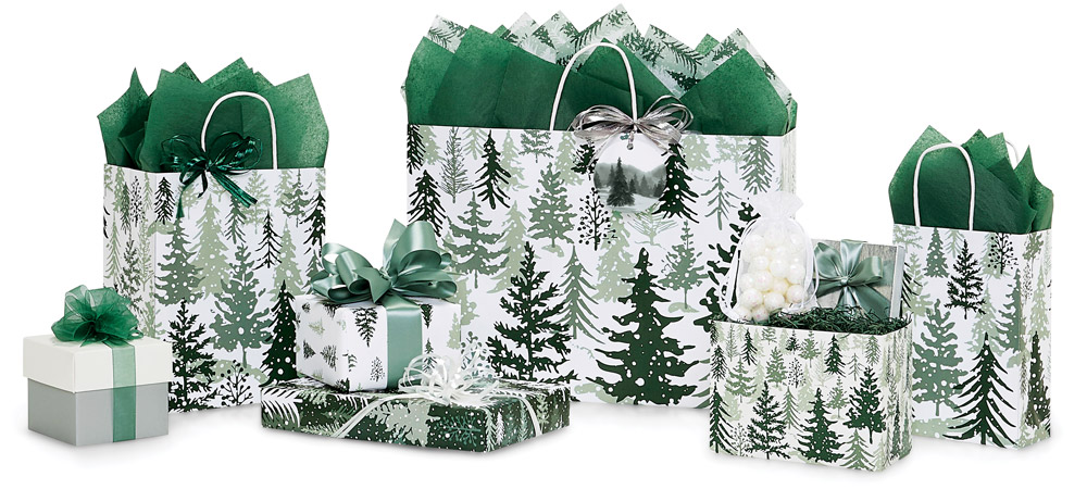 Snowy Pines Shopping Bags