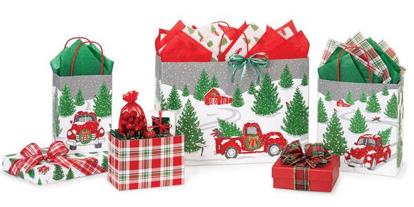 Tree Farm Christmas Paper Shopping Bags