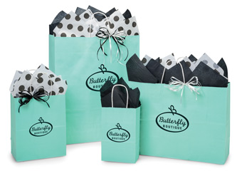 Hot Stamp Your Aqua Paper Shopping Bags