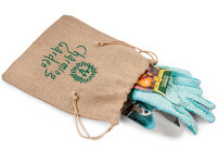 Custom Printed Brown Burlap Drawstring Bags