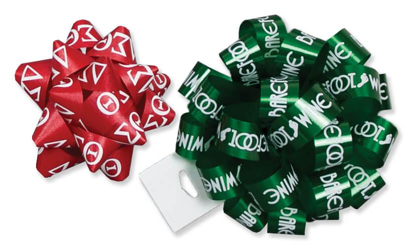 Custom Printed Poly Star & Pom Bows