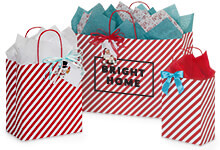 Hot Stamp Your Red Stripe Paper Shopping Bags