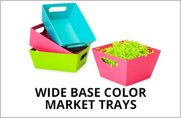 Wide Base Color Market Trays on Special!
