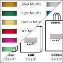 Hot stamp color chart and imprint area guide