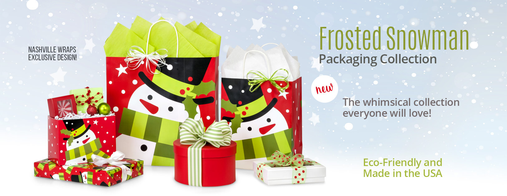 Frosted Snowman Christmas Shopping Bags collection from Nashville Wraps