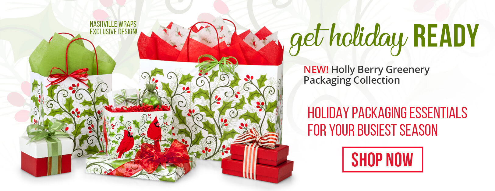 Holly Berry Greenery Shopping Bags collection from Nashville Wraps