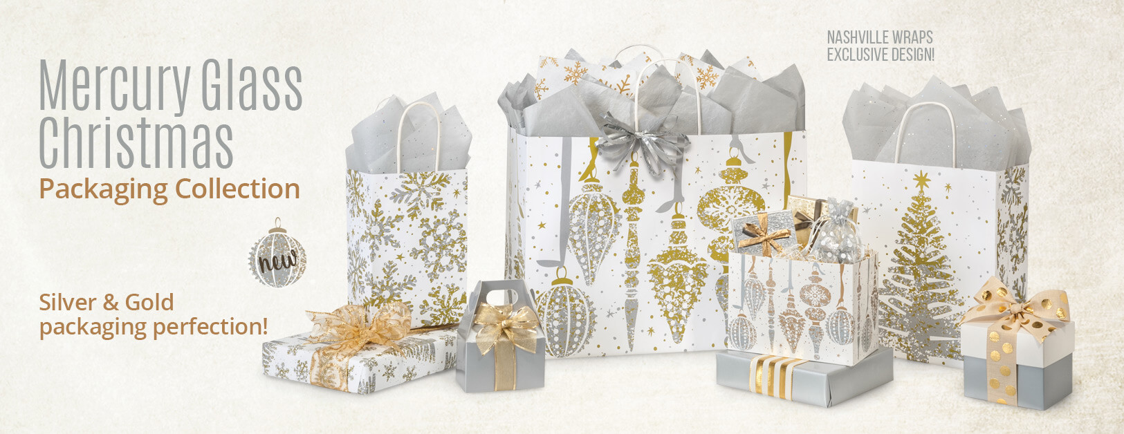Mercury Glass Christmas Shopping Bags Collection from Nashville Wraps