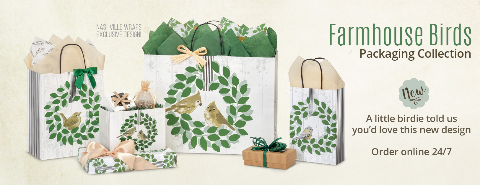 Farmhouse Birds Packaging Collection from Nashville Wraps