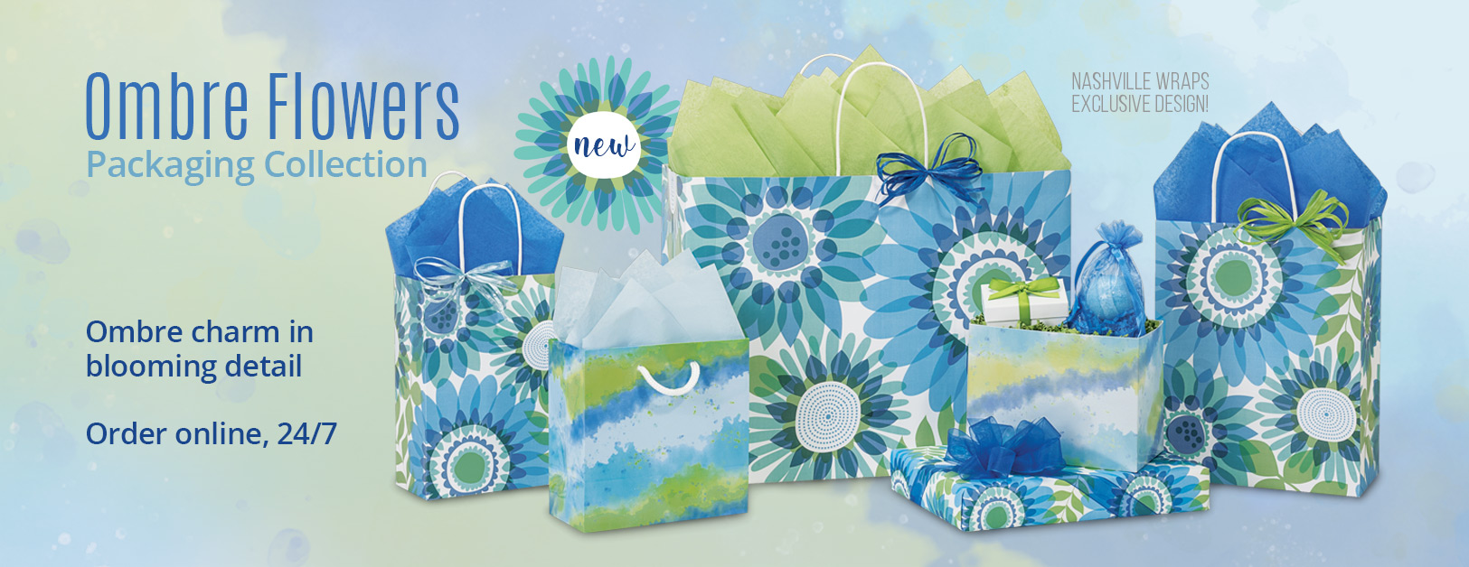 Ombre Flowers Shopping Bags Collection from Nashville Wraps