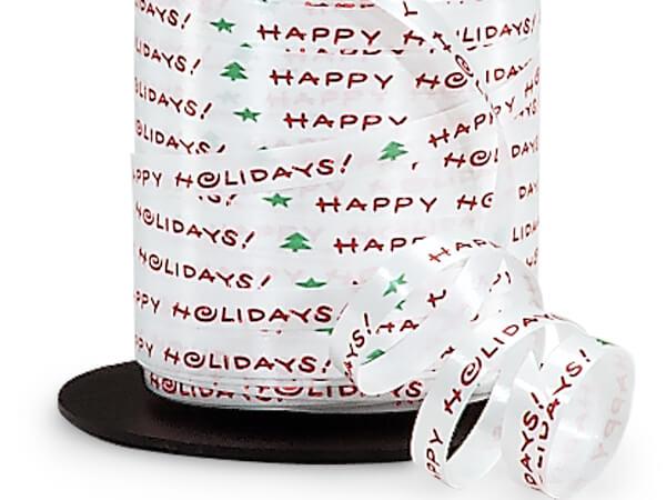 "Happy Holidays Curling Ribbon, 1/4""x250 yards"