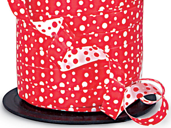 "Red and White Polka Dots Reversible Curling Ribbon, 3/8""x250 yards"