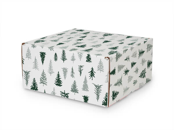 """Snowy Pines Tab Lock Mailer Boxes, 10x10x5"""", 25 Pack"""
