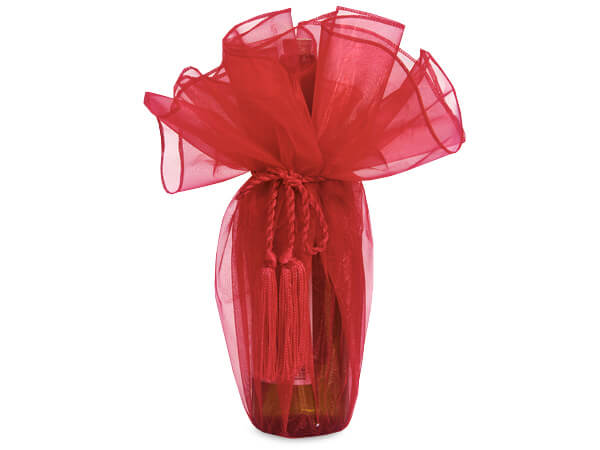 """Red Organza Wine Wrapper with Tie Cord, 28"""" Diameter, 3 Pack"""