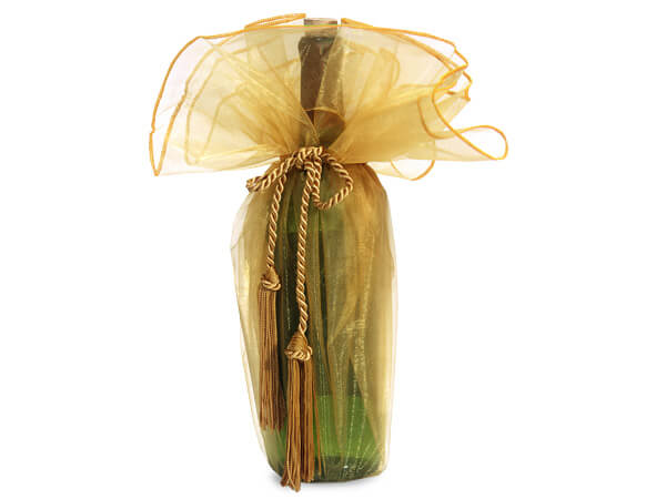Gold Organza Wine Wrer With Tie Cord 28 Diameter