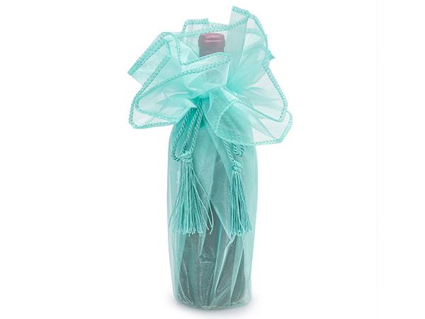 "Aqua Organza Wine Wrapper with Tie Cord, 28"" Diameter, 3 Pack"
