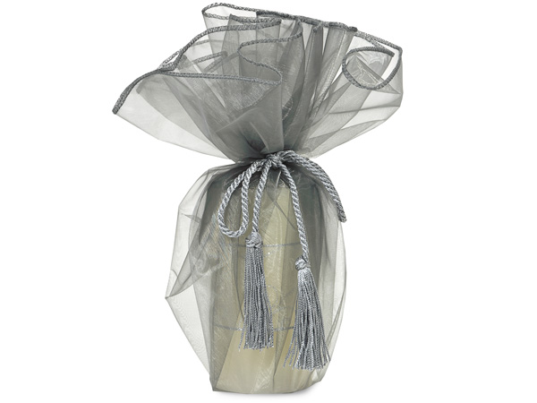 "Silver Organza Wine Wrapper with Tie Cord, 28"" Diameter, 3 Pack"
