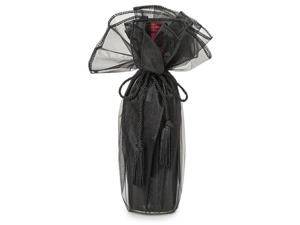 "Black Organza Wine Wrapper with Tie Cord, 28"" Diameter, 3 Pack"