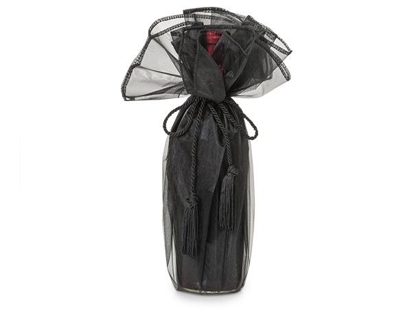 "*Black Organza Wine Wrapper with Tie Cord, 28"" Diameter, 3 Pack"