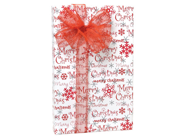 "Merry Christmas Script 24""x417' Roll Gift Wrap"
