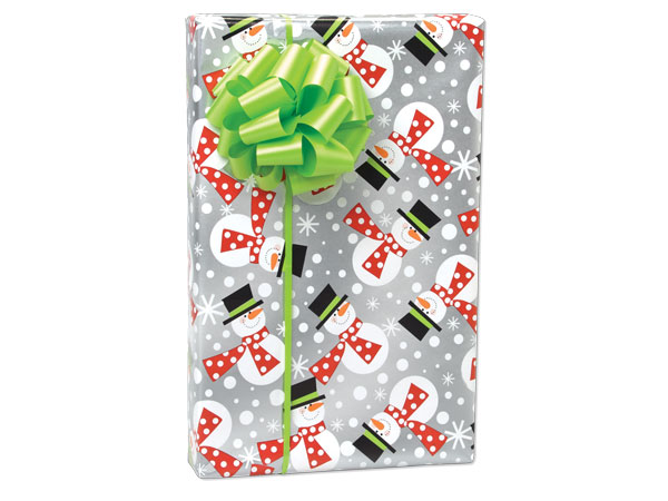 "Polka Snowmen 24""x417' Roll Gift Wrap"