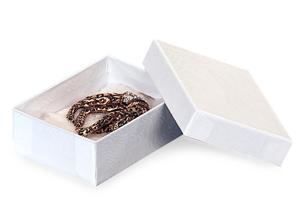 """4.25x3.25x1.5"""" White Embossed Swirl Jewelry Boxes with cotton fiber"""