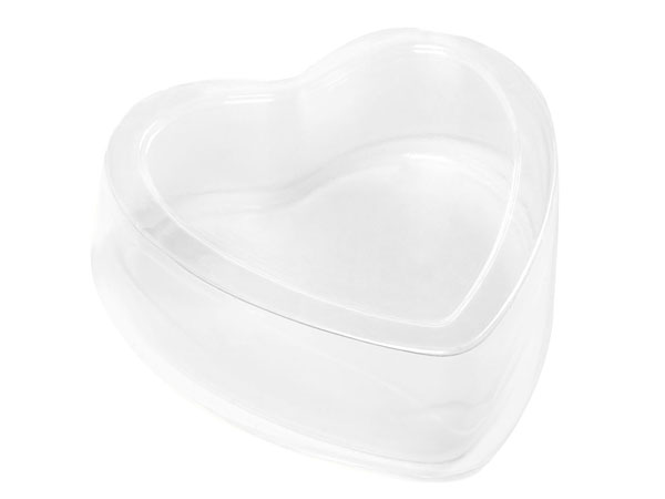 "Clear 2 Piece Heart Box, Medium 2.5x2.5x1"", Pack of 6"