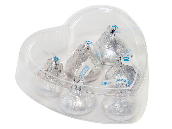"Clear 2 Piece Heart Box, Large 3x3x1"", 6 Pack"