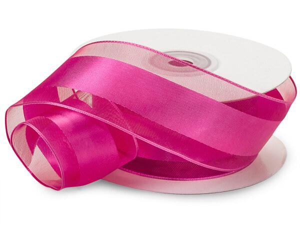 """Shocking Pink Wired Satin Stripe 1-1/2""""x25 yds 100% Polyester Ribbon"""