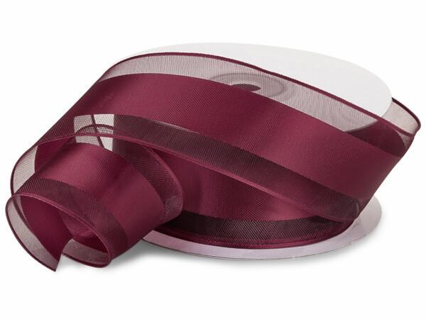 "Burgundy Wired Satin Stripe Sheer 1-1/2""x25 yds 100% Polyester Ribbon"