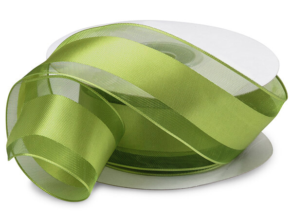 Wired Moss Satin Stripe Sheer Ribbon