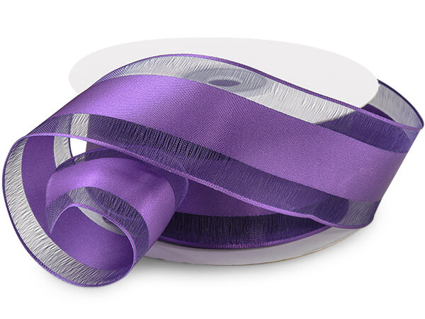 "Purple Satin Stripe Sheer Wired Ribbon, 1-1/2""x25 yards"