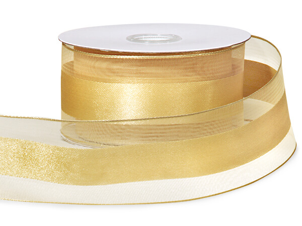 "Gold Satin Stripe Sheer Wired Ribbon, 1-1/2""x25 yards"