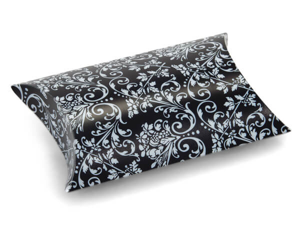 "*Black with White Damask Pillow Favor Boxes, 3.5x3x1"", 12 Pack"