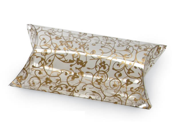 "Elegant Gold Scroll Pillow Favor Boxes, 3.5x3x1"", 12 Pack"