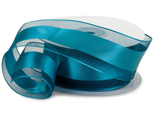 """Caribbean Teal Wired Satin Stripe 1-1/2""""x25 yds 100% Polyester Ribbon"""