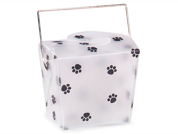 "Paw Print Take Out Favor Boxes, Small 2.75x2x2.5"", 12 Pack"