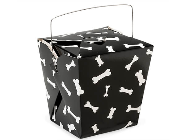 "*Dog Bone Take Out Favor Boxes, Large 4x3.5x4"", 12 Pack"