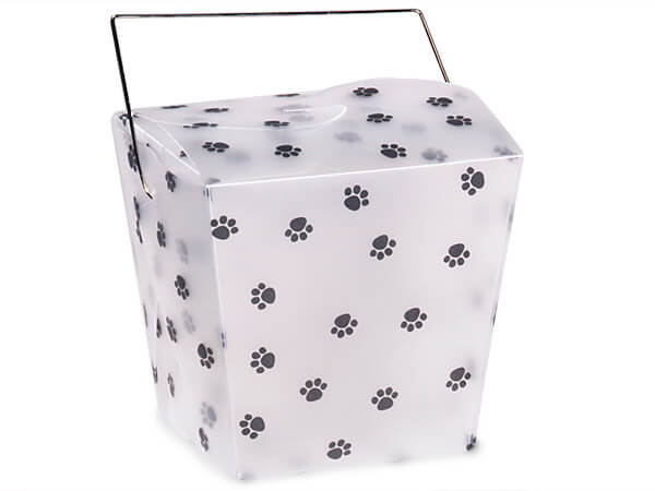 "Paw Print Take Out Favor Boxes, Large 4x3.5x4"", 12 Pack"