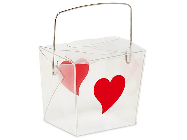 """Hearts Print Take Out Favor Boxes, Small 2.75 x 2 x 2.5"""", 6 Pack"""