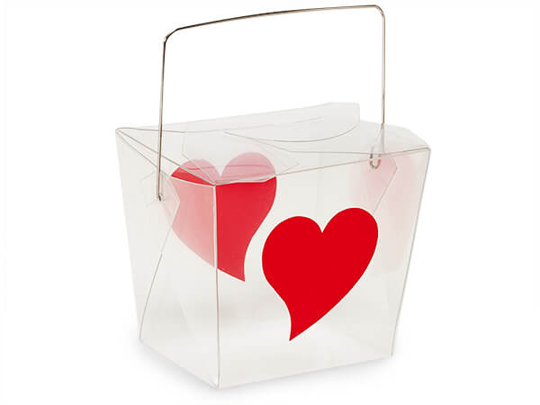 "Hearts Print Take Out Favor Boxes, Medium 3.75 x 3 x 3.25"", 6 Pack"