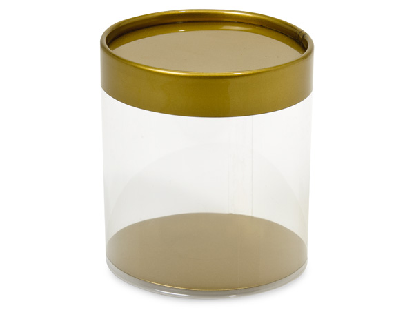 "Clear Tube Favor Boxes with Gold Lid and Base, 3x3"", 6 Pack"