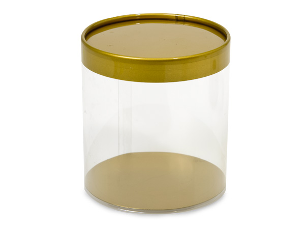 "Clear Tube Favor Box with Gold Lid and Base, 4x4"", 6 Pack"