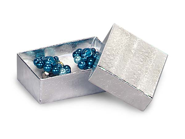 "Silver Embossed Foil Jewelry Boxes, 1.75x1x.5"", 100 Pack, Cotton Fill"