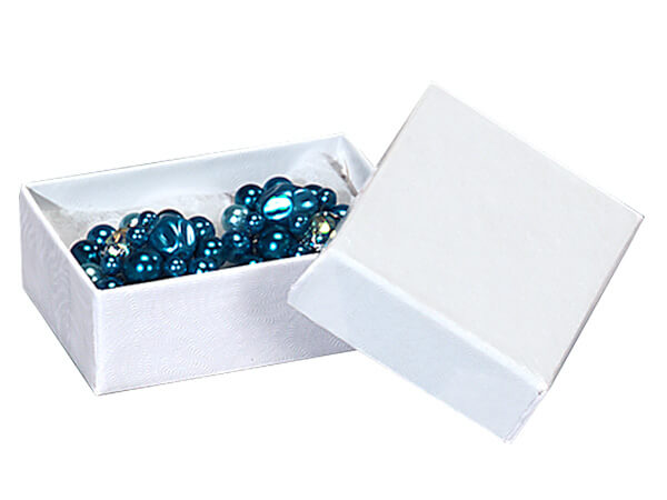 "White Embossed Swirl Jewelry Boxes, 1.75x1x.5"", 100 Pack, Cotton Fill"