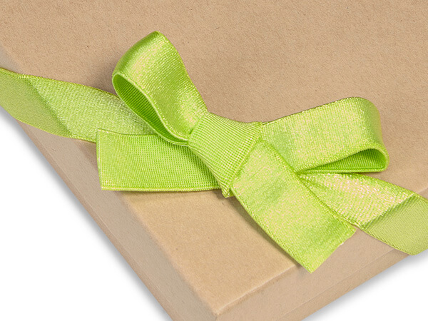 "12"" Chartreuse Satin Stretch Loops 1/2"" Wide Elastic Loop Pre-Tied Bow"
